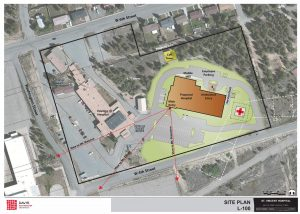 Exterior site plan of new St. Vincent Hospital